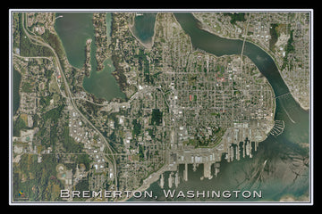 Bremerton Washington Satellite Poster Map - TerraPrints.com