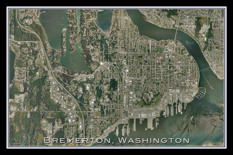Bremerton Washington From Space Satellite Poster Map - TerraPrints.com