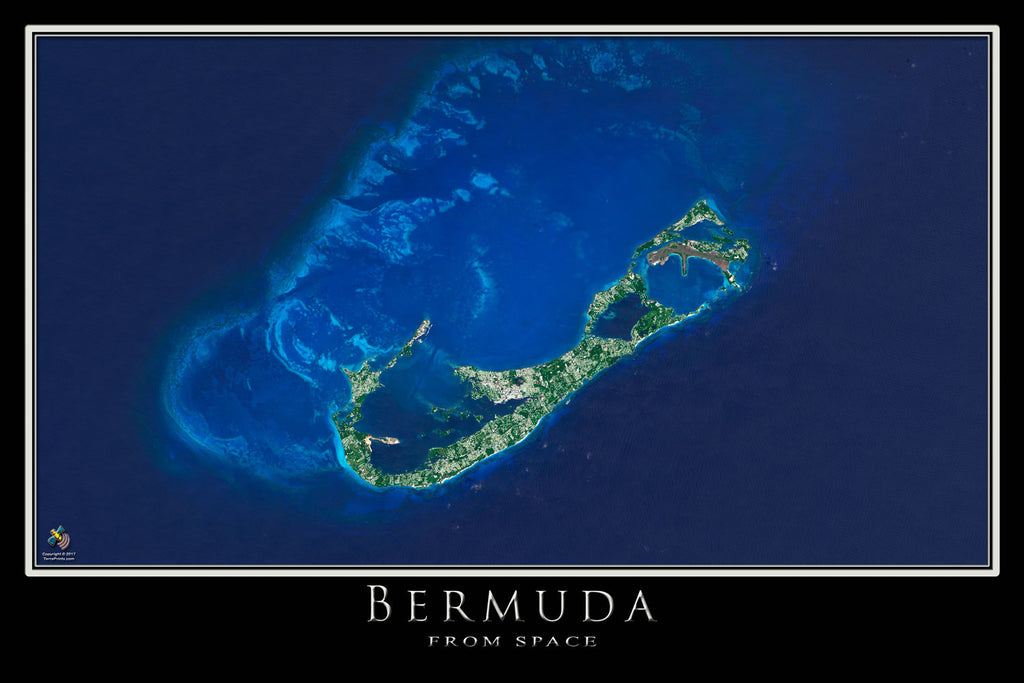 Bermuda Satellite Poster Map