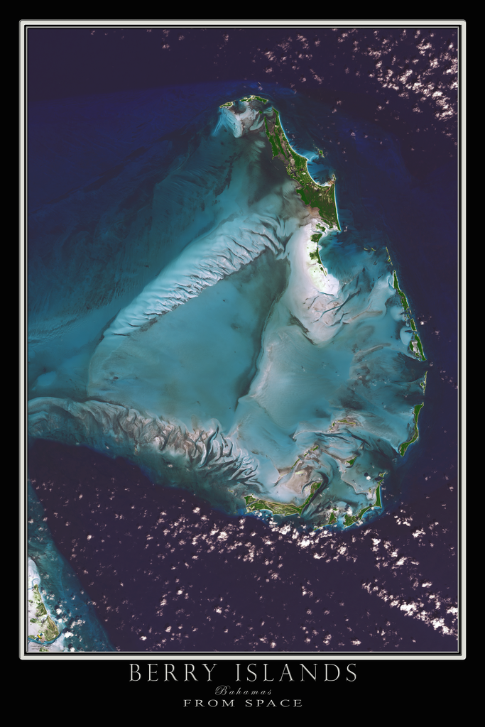 Berry Islands Bahamas From Space Satellite Poster Map - TerraPrints.com