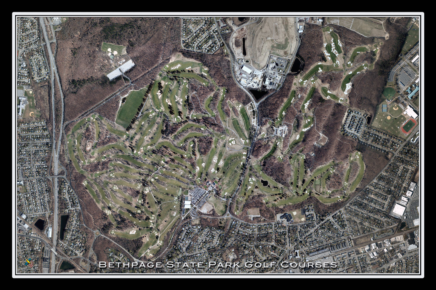 Bethpage State Park Golf Courses New York Satellite Poster Map