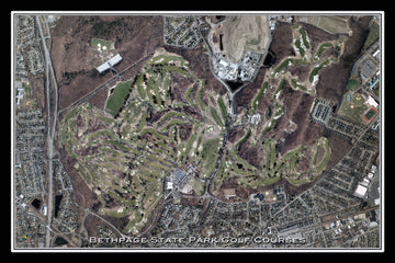 The Bethpage State Park Golf Courses New York Satellite Poster Map