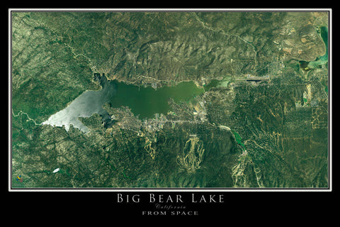 Big Bear Lake California From Space Satellite Poster Map - TerraPrints.com