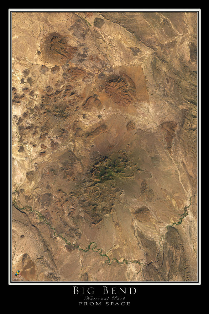 Big Bend National Park Texas From Space Satellite Poster Map - TerraPrints.com