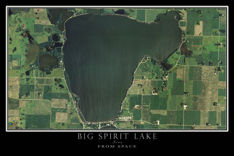 Big Spirit Lake Iowa Satellite Poster Map