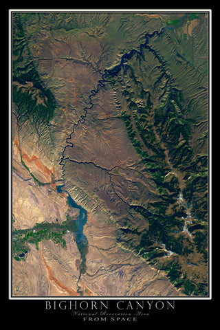 Bighorn Canyon National Park Montana-Wyoming Satellite Poster Map - TerraPrints.com