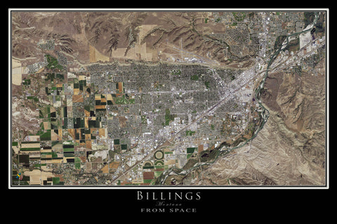 Billings Montana Satellite Poster Map