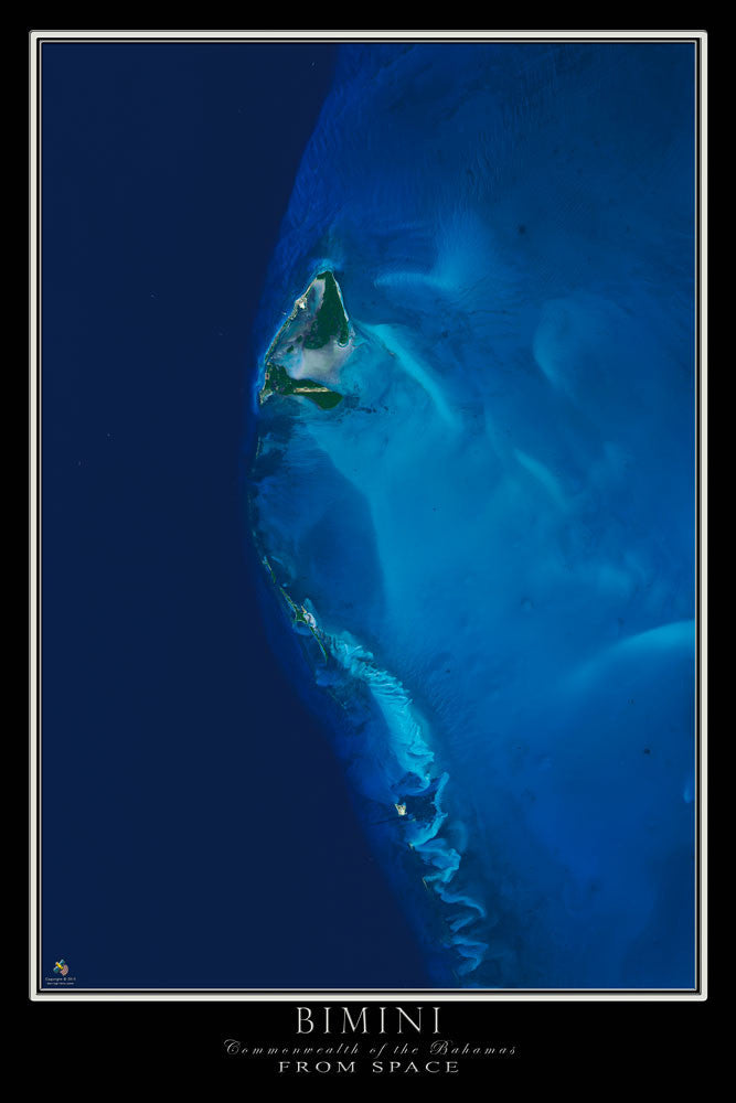 Bimini Island Bahamas From Space Satellite Poster Map - TerraPrints.com