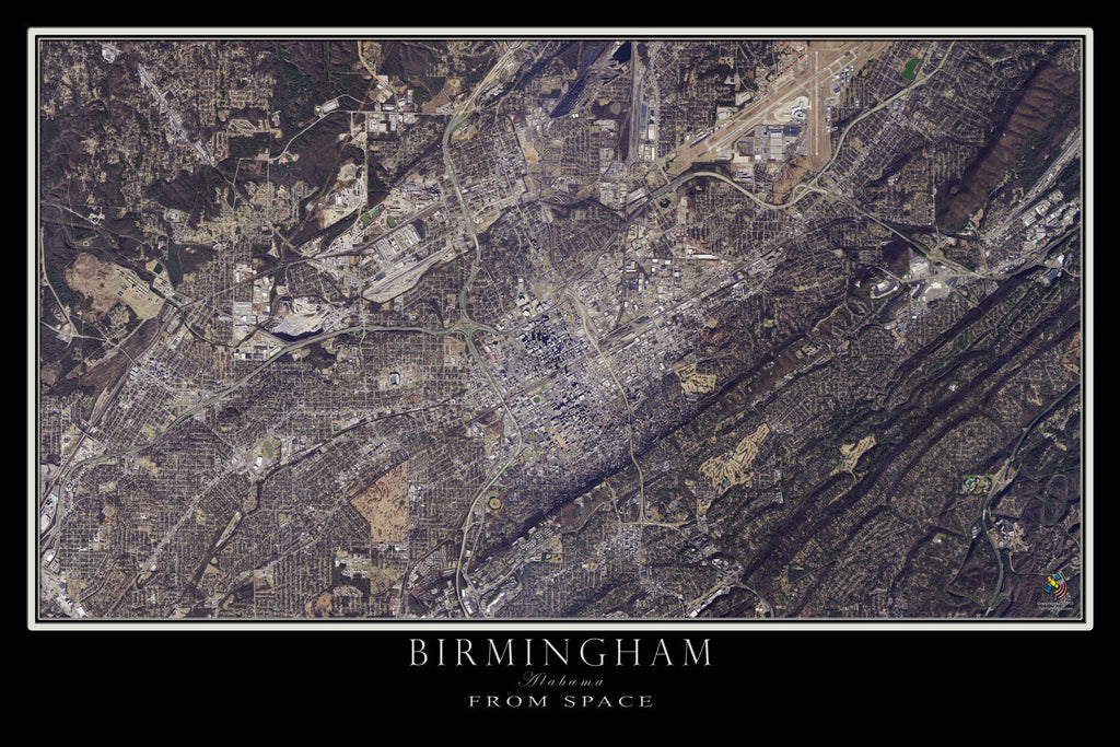 Birmingham Alabama From Space Satellite Poster Map - TerraPrints.com