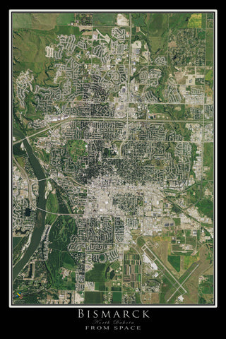 Bismarck North Dakota From Space Satellite Poster Map - TerraPrints.com
