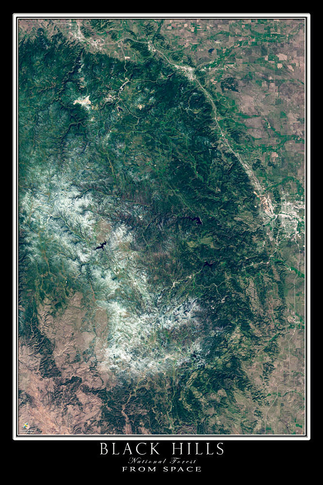 Black Hills National Forest South Dakota Satellite Poster Map - TerraPrints.com