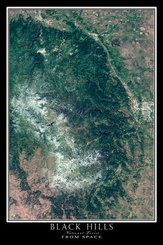 Black Hills National Forest South Dakota From Space Satellite Poster Map - TerraPrints.com