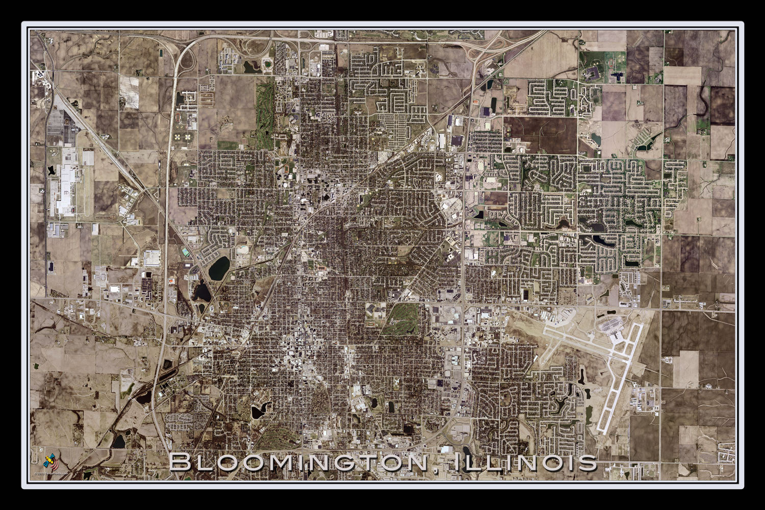 Bloomington Illinois Satellite Poster Map - TerraPrints.com