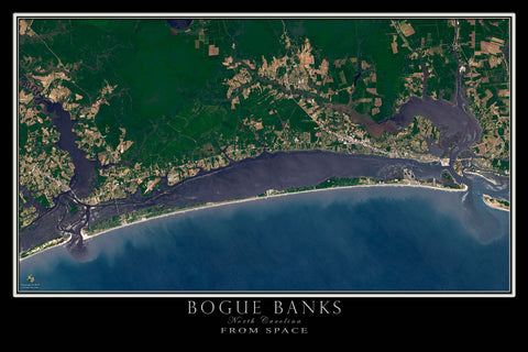 Bogue Banks North Carolina From Space Satellite Poster Map - TerraPrints.com