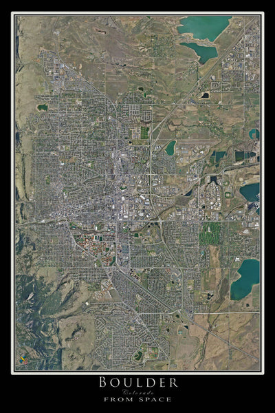 Boulder Colorado From Space Satellite Poster Map - TerraPrints.com