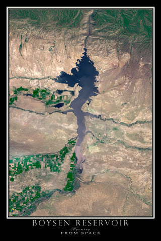 Boysen Reservoir Wyoming From Space Satellite Poster Map - TerraPrints.com