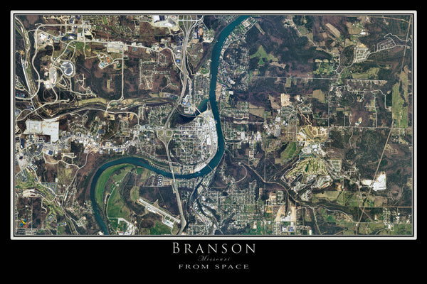 Branson Missouri From Space Satellite Poster Map - TerraPrints.com