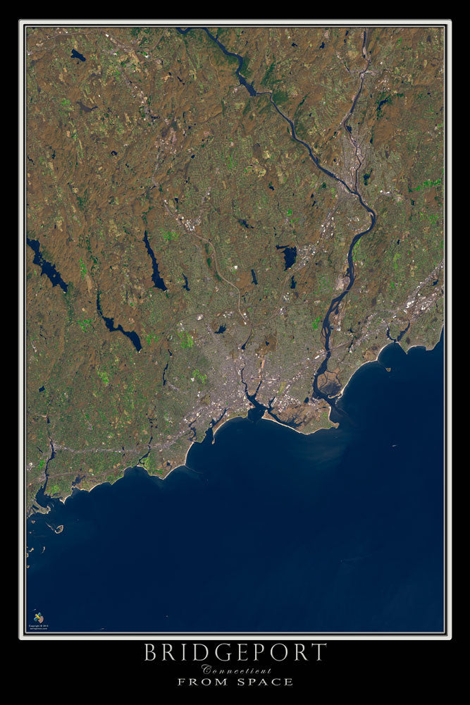 Bridgeport Connecticut From Space Satellite Poster Map - TerraPrints.com