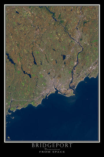 Bridgeport Connecticut Satellite Poster Map - TerraPrints.com