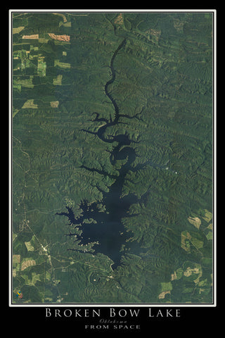 Broken Bow Lake Oklahoma Satellite Poster Map