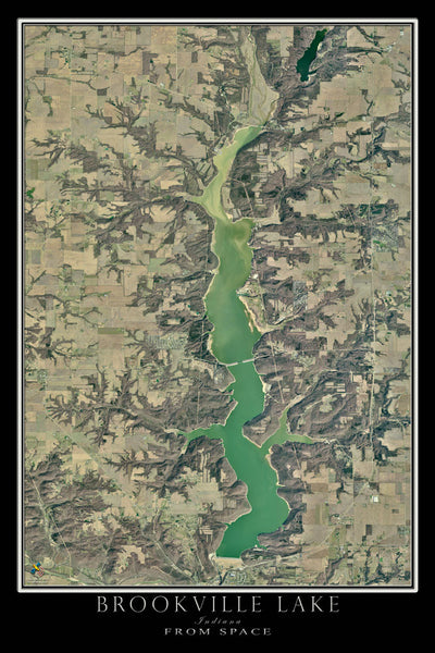 Brookville Lake Indiana From Space Satellite Poster Map - TerraPrints.com