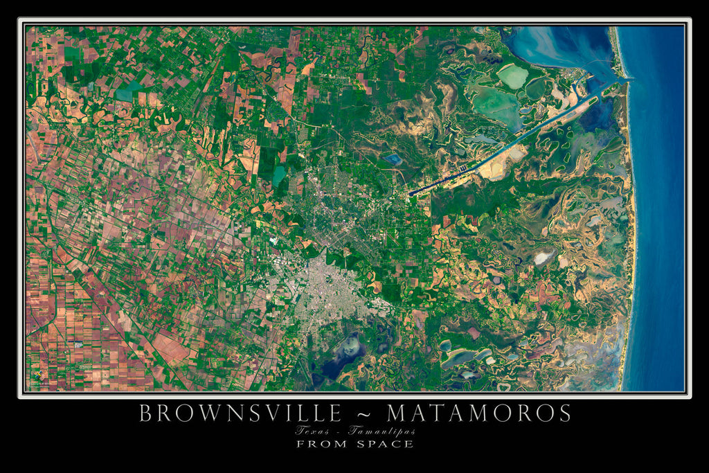 Brownsville Texas - Matamoros Mexico Satellite Poster Map - TerraPrints.com