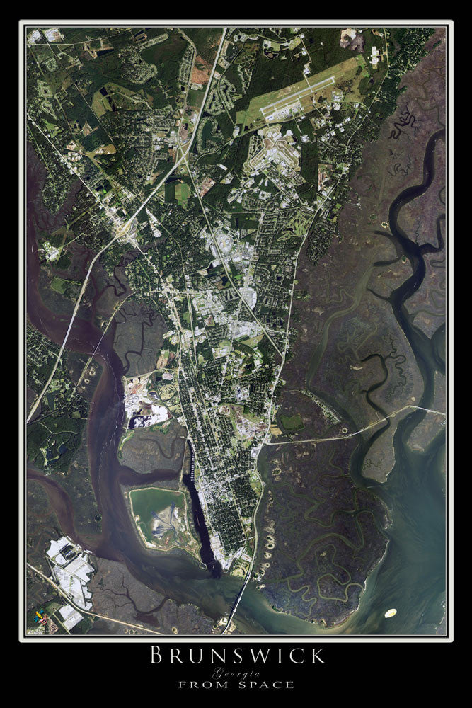 Brunswick Georgia From Space Satellite Poster Map - TerraPrints.com