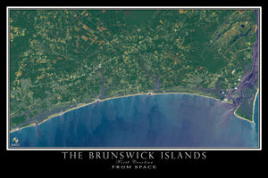 Brunswick Islands North Carolina Satellite Poster Map - TerraPrints.com