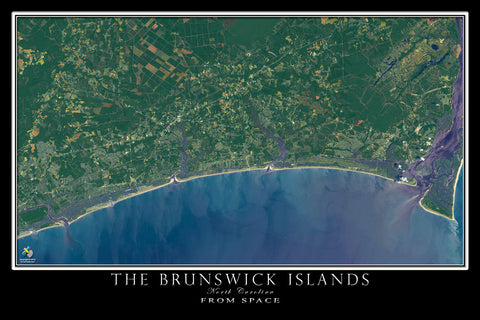 Brunswick Islands North Carolina From Space Satellite Poster Map - TerraPrints.com