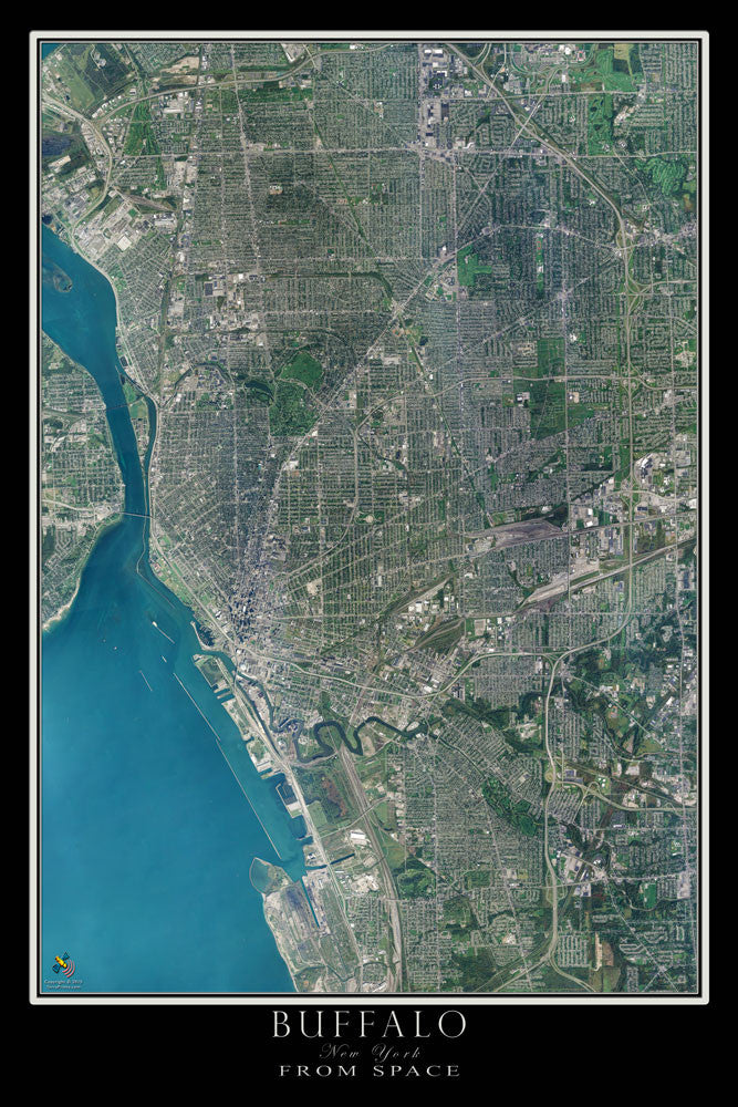 Buffalo New York From Space Satellite Poster Map - TerraPrints.com
