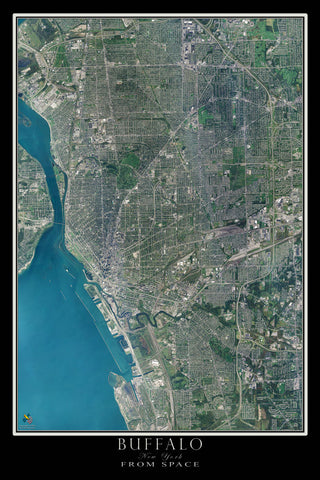 Buffalo New York Satellite Poster Map - TerraPrints.com