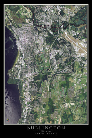 Burlington Vermont From Space Satellite Poster Map - TerraPrints.com