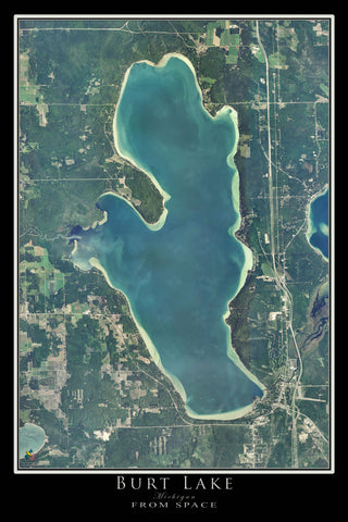 Burt Lake Michigan Satellite Poster Map