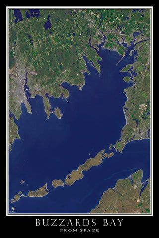 Buzzards Bay Massachusetts From Space Satellite Poster Map - TerraPrints.com