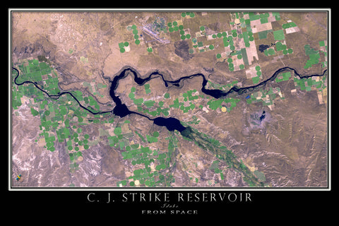 C J Strike Reservoir Idaho From Space Satellite Poster Map - TerraPrints.com