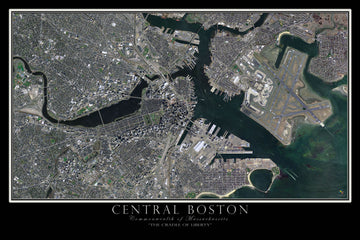 Boston Massachusetts Satellite Poster Map - TerraPrints.com