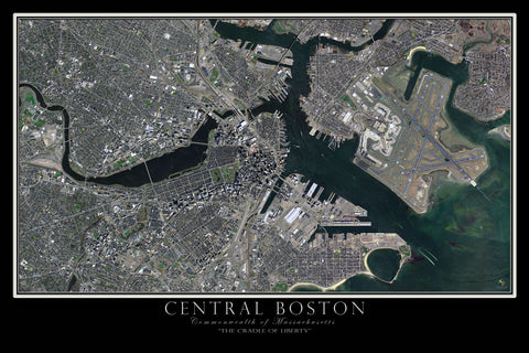 Boston Massachusetts From Space Satellite Poster Map - TerraPrints.com