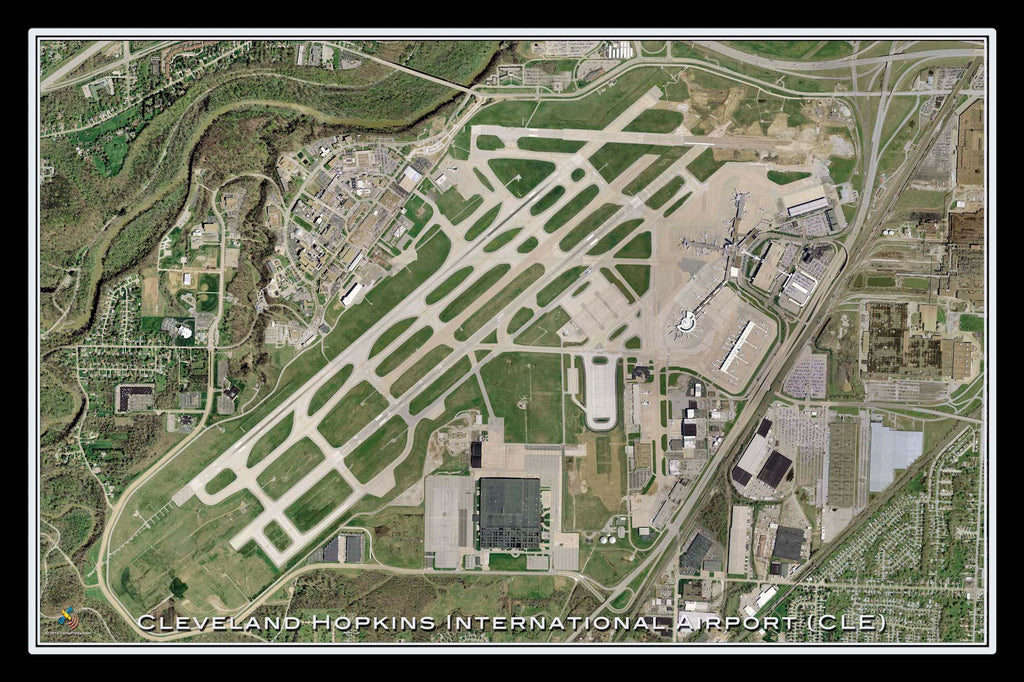 Cleveland-Hopkins Intl Airport Ohio Satellite Poster Map