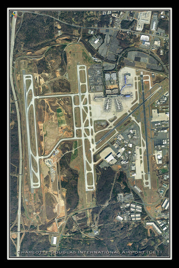 The Charlotte Douglas Intl Airport North Carolina Satellite Poster