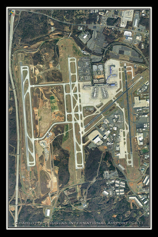 Charlotte Douglas Intl Airport North Carolina Satellite Poster