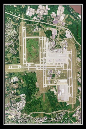 The Cincinnati / Northern Kentucky Intl Airport Satellite Poster Map