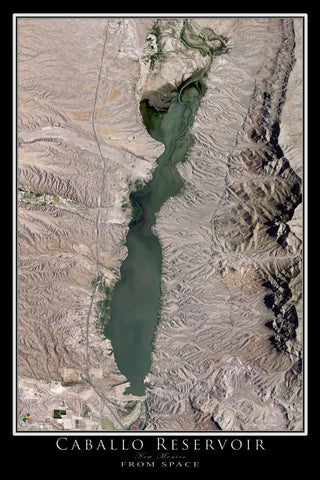 Caballo Lake New Mexico From Space Satellite Poster Map - TerraPrints.com