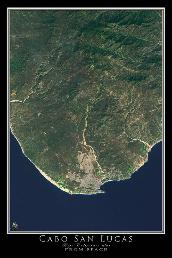 Cabo San Lucas Mexico From Space Satellite Poster Map - TerraPrints.com