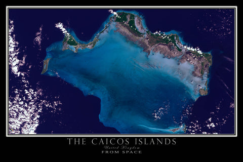 Caicos Islands From Space Satellite Poster Map - TerraPrints.com
