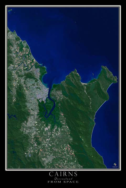 Cairns Queensland Australia Satellite Poster Map - TerraPrints.com