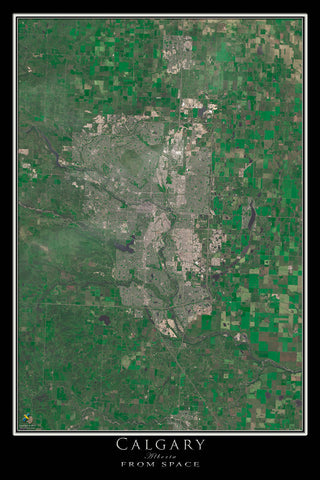 Calgary Alberta From Space Satellite Poster Map - TerraPrints.com
