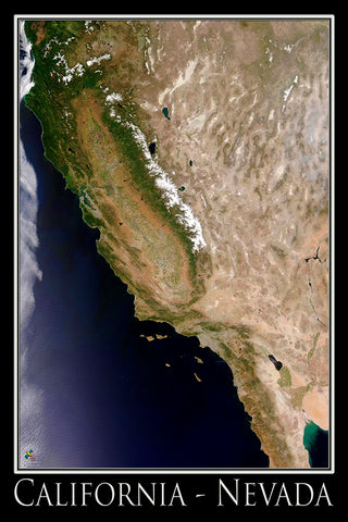 California - Nevada Satellite Poster Map