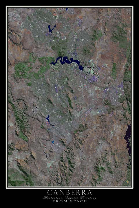 Canberra Australian Capital Territory Satellite Poster Map - TerraPrints.com