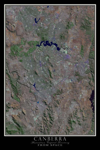 Canberra Australian Capital Territory From Space Satellite Poster Map - TerraPrints.com