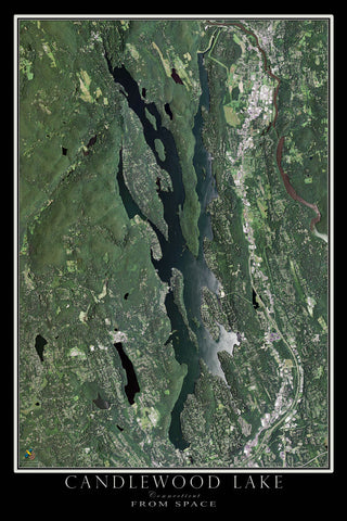 Candlewood Lake Connecticut From Space Satellite Poster Map - TerraPrints.com